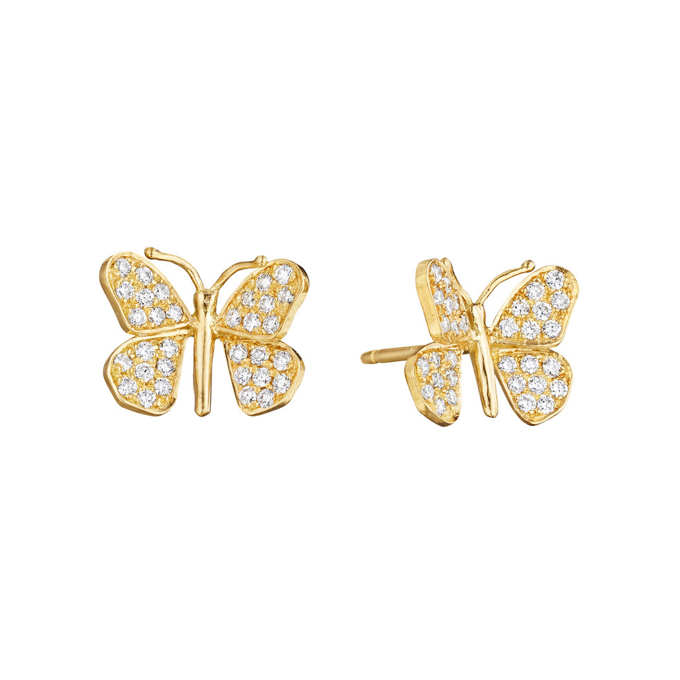 Small 18k Yellow Gold & Diamond Butterfly Earrings