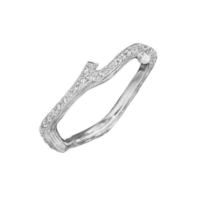 "18k White Gold & Diamond ""Wonderland' Small Twig Band Ring"