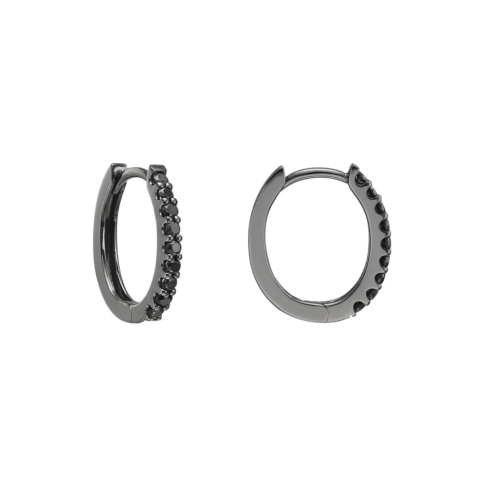 Mini Black Diamond Hoop Earrings (~0.2 ct tw)