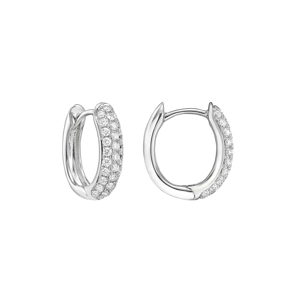 Small Pavé Diamond Hoop Earrings (~0.5 ct tw)