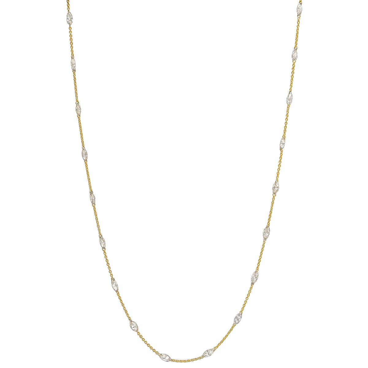 Mixed-Cut Diamond Chain Long Necklace (6.68 ct tw)