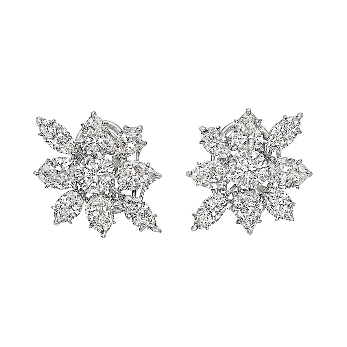 Mixed-Cut Diamond Cluster Earrings (~9ct tw)
