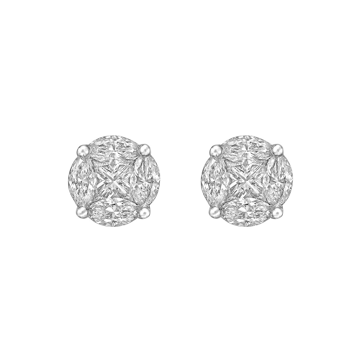 Mixed-Cut Diamond Cluster Earstuds (1.07 ct tw)