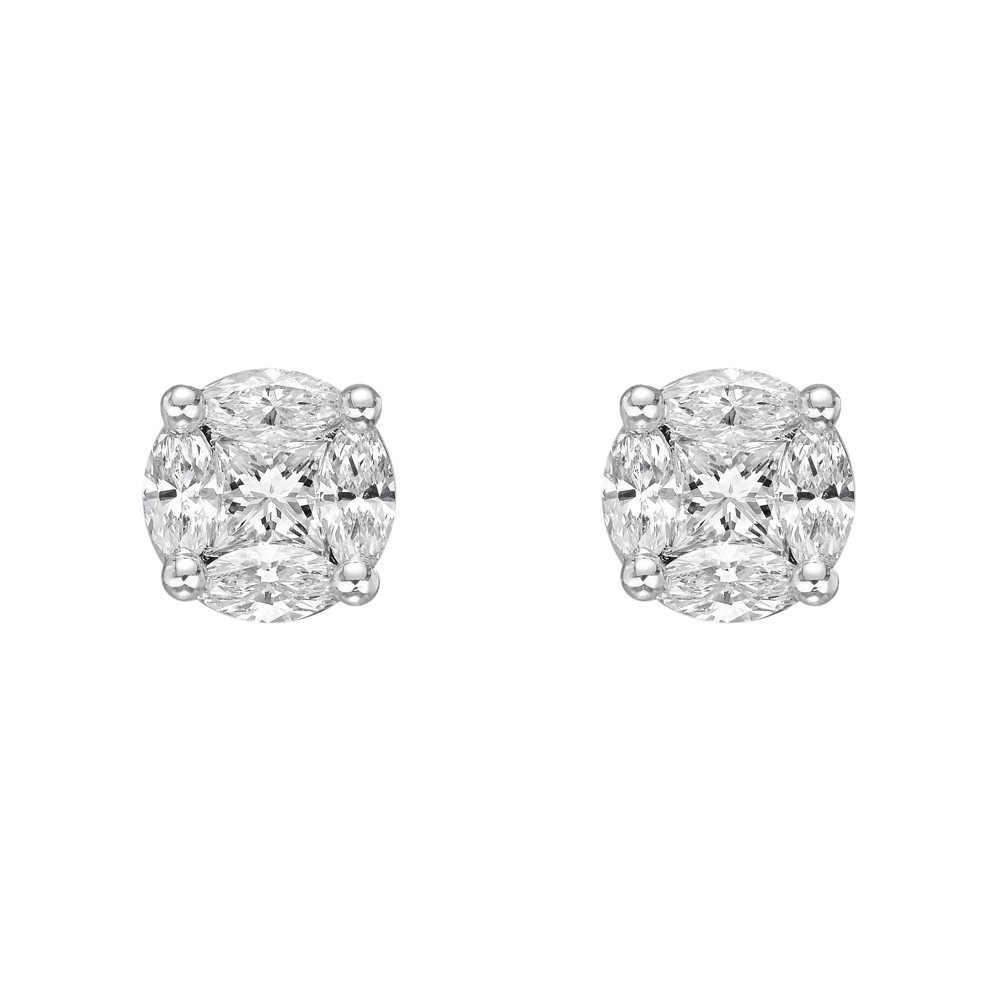 Mixed-Cut Diamond Cluster Earstuds (~0.7 ct tw)