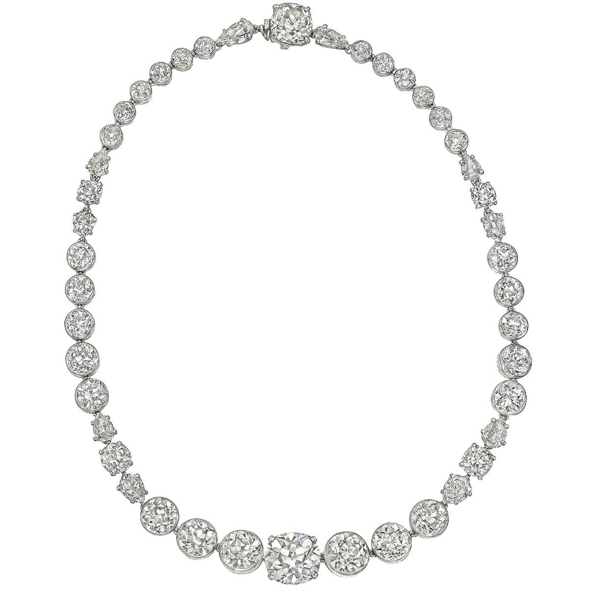 Antique Mixed-Cut Diamond Rivière Necklace (~40ct tw)
