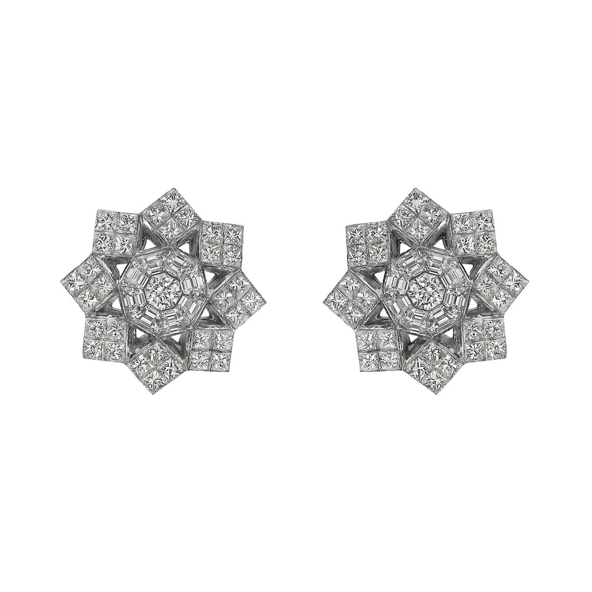 Platinum & Diamond Snowflake Stud Earrings