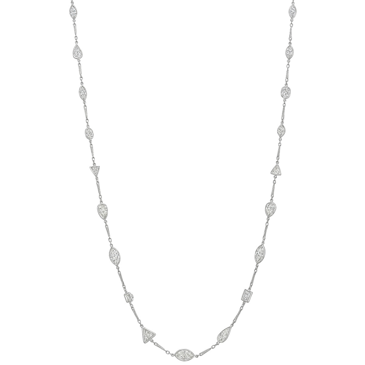 Mixed-Shape Diamond Long Chain Necklace (~27.91 ct tw)