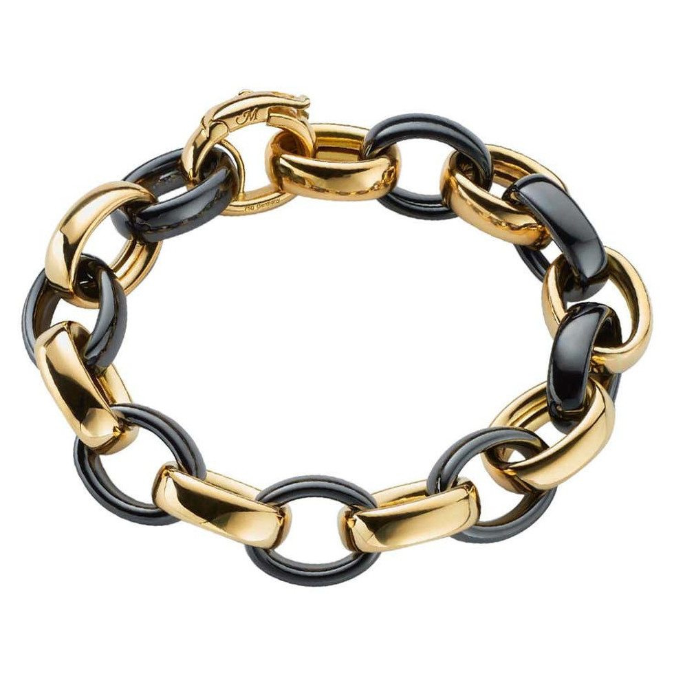 "18k Yellow Gold & Black Ceramic ""Marilyn"" Bracelet"