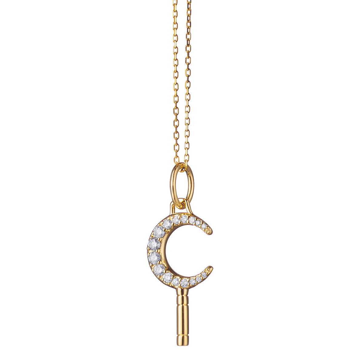 "18k Yellow Gold & Diamond ""Dream"" Moon Key Pendant"