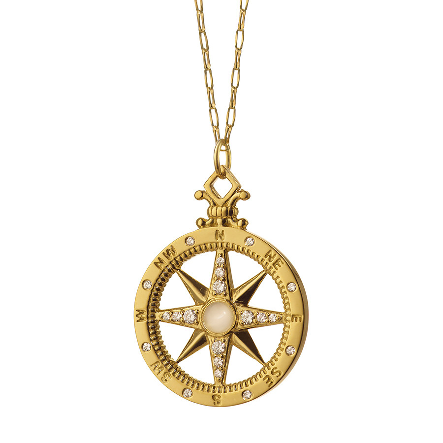 18k Yellow Gold & Diamond Global Compass Pendant