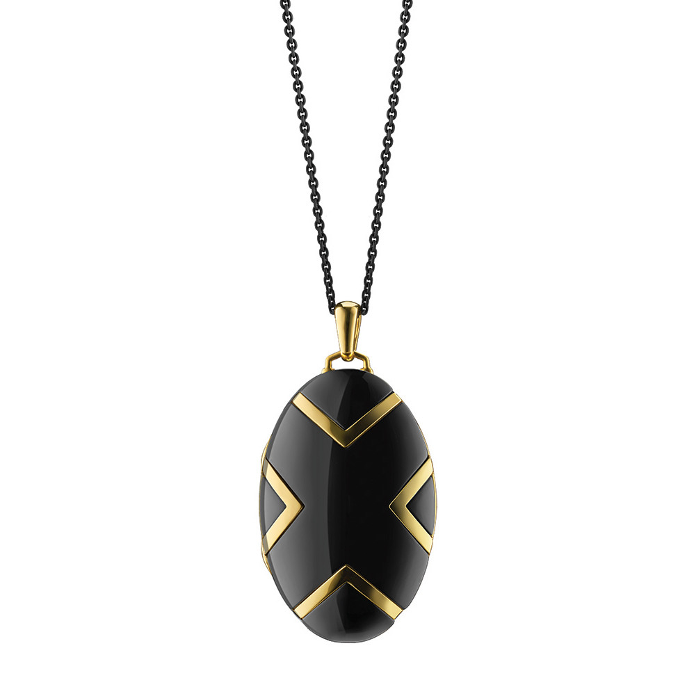 18k Yellow Gold & Black Ceramic Oval Locket