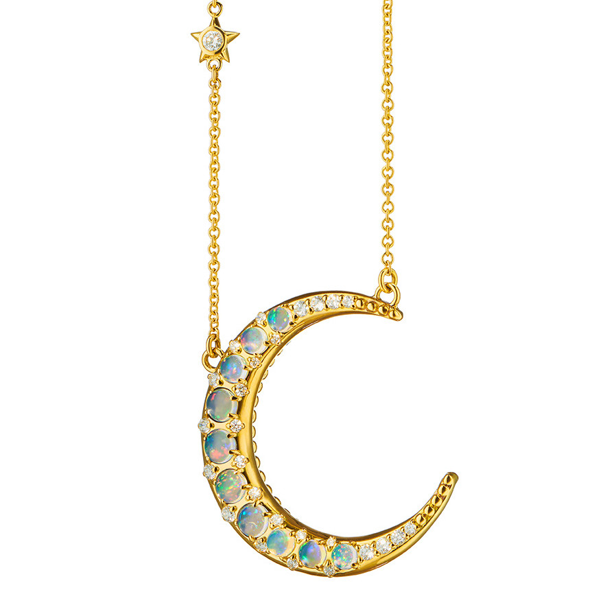 18k Yellow Gold & Opal Crescent Moon Pendant