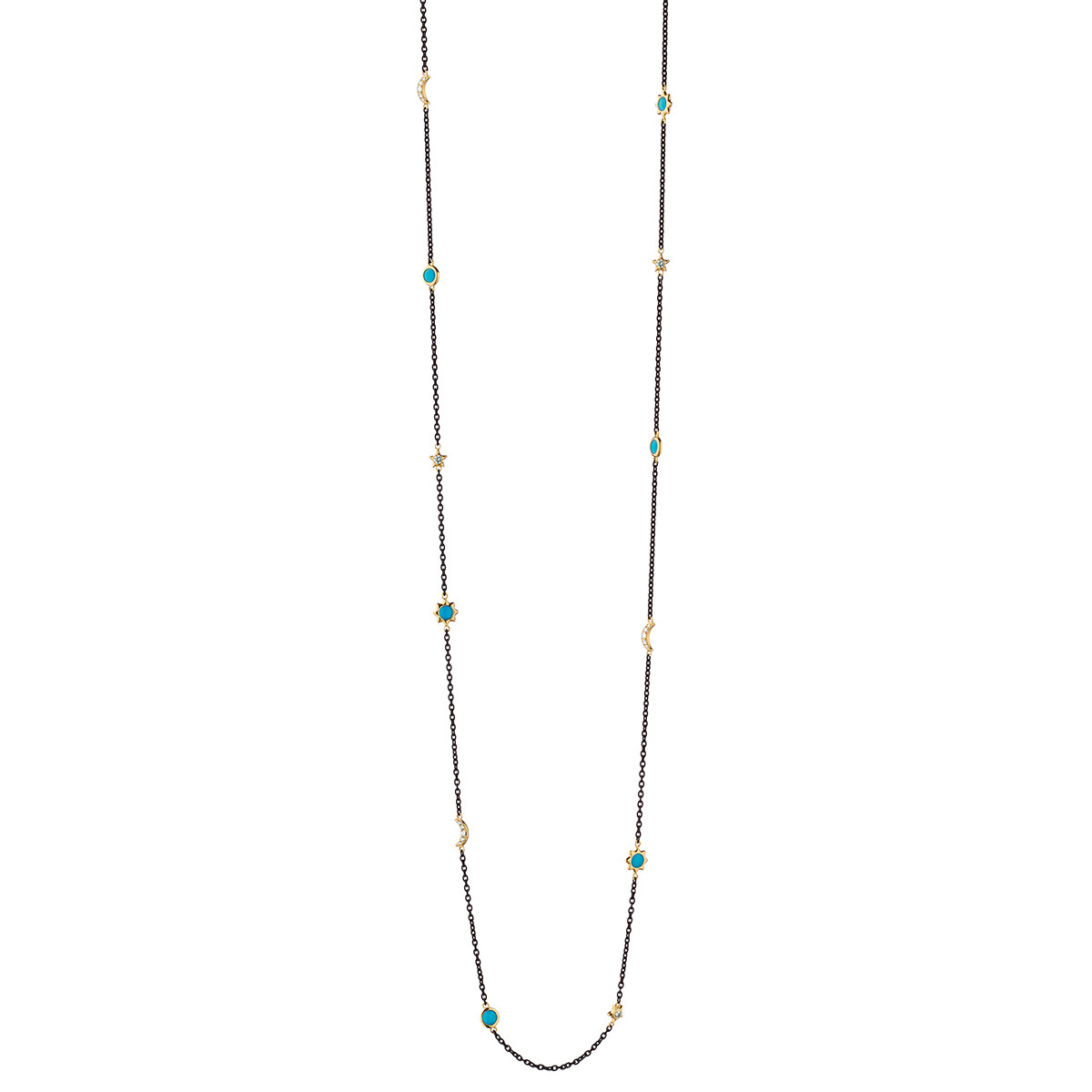 Sun, Moon & Stars Turquoise Long Chain Necklace
