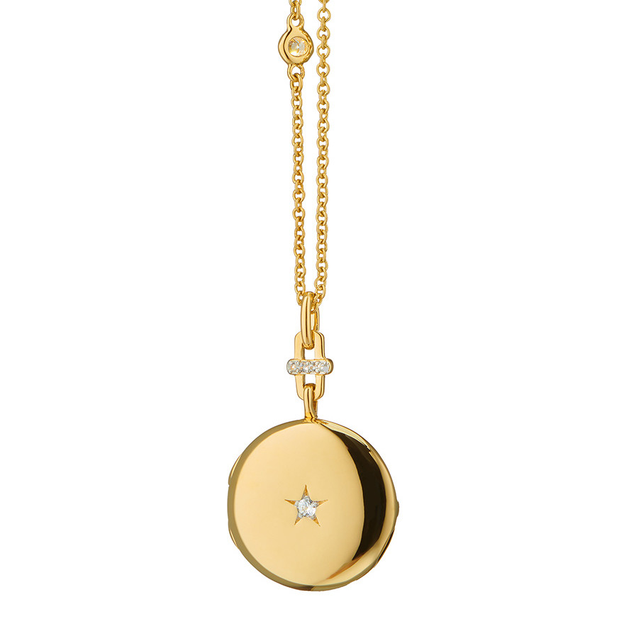 "18k Yellow Gold & Diamond ""Twinkle Star"" Locket"