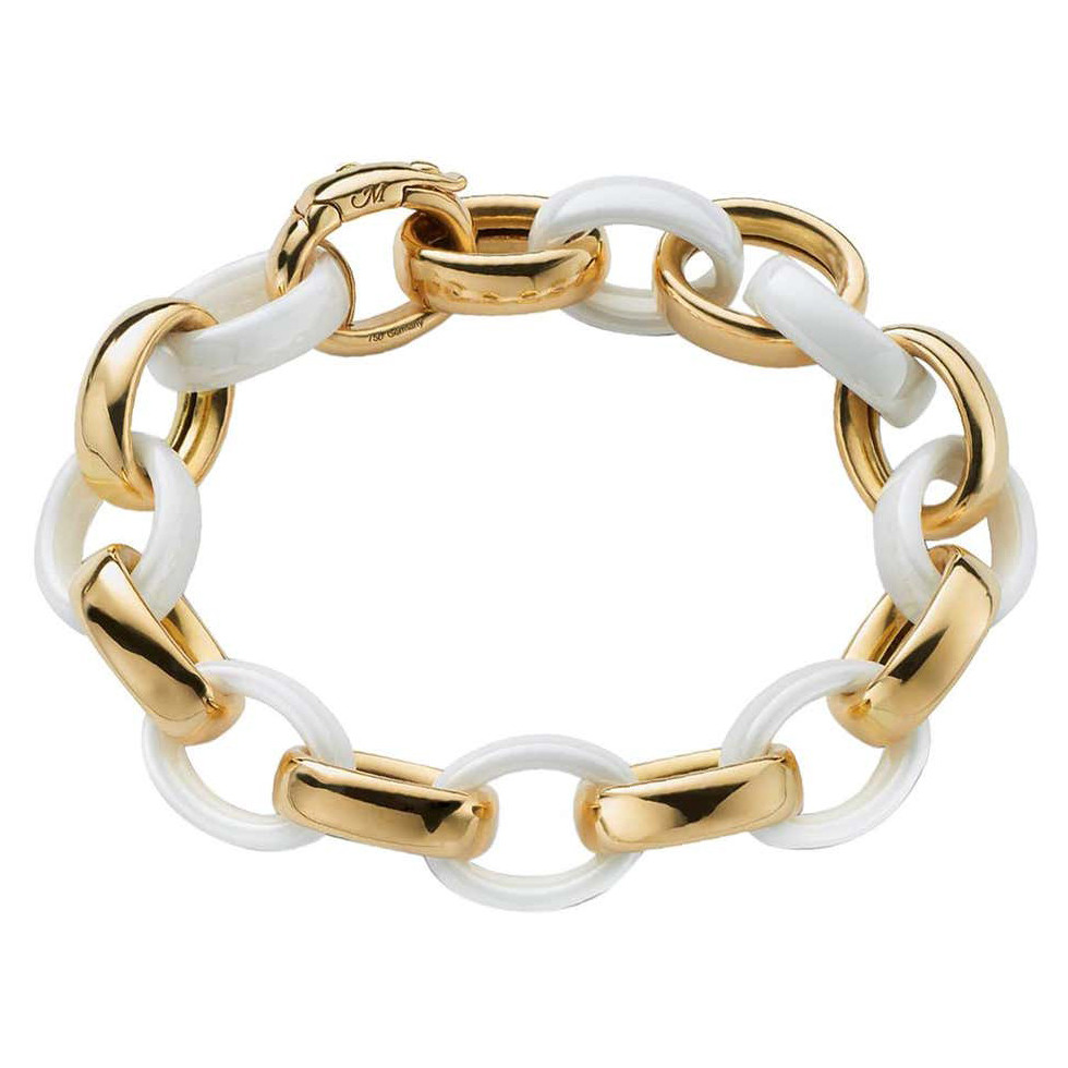 "18k Yellow Gold & White Ceramic ""Marylin"" Bracelet"