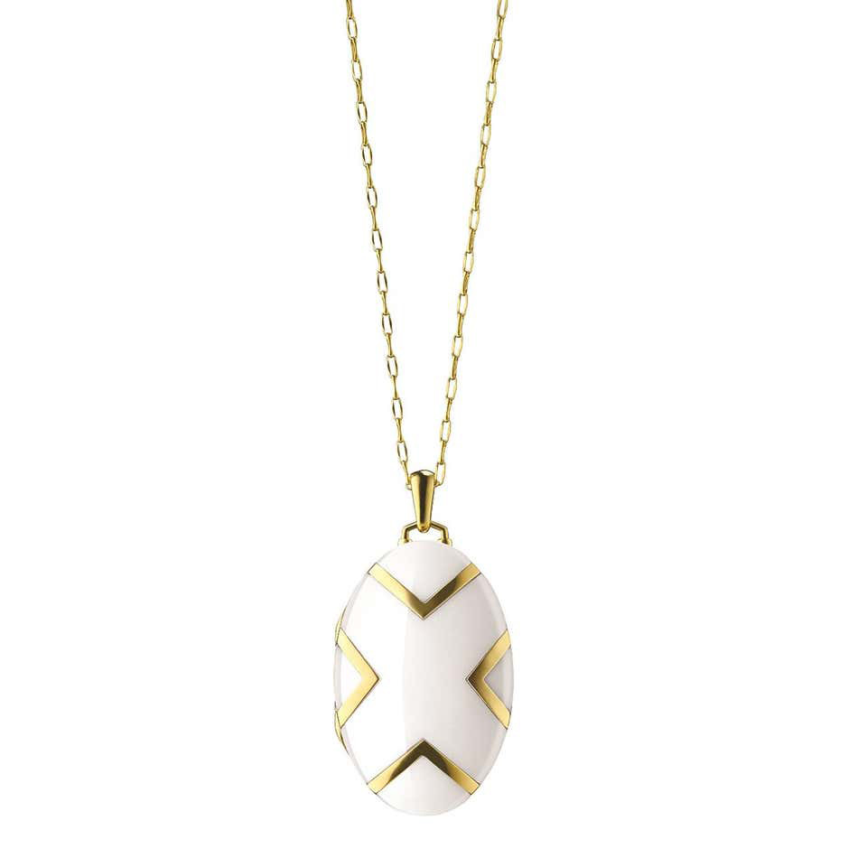 18k Yellow Gold & White Ceramic Oval Locket