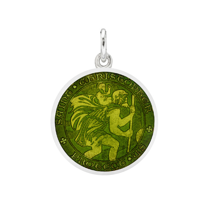 Small Silver St Christopher Medal with Moss Green Enamel