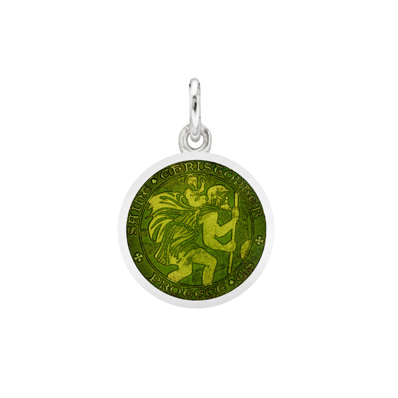 XS Silver St Christopher Medal with Moss Green Enamel