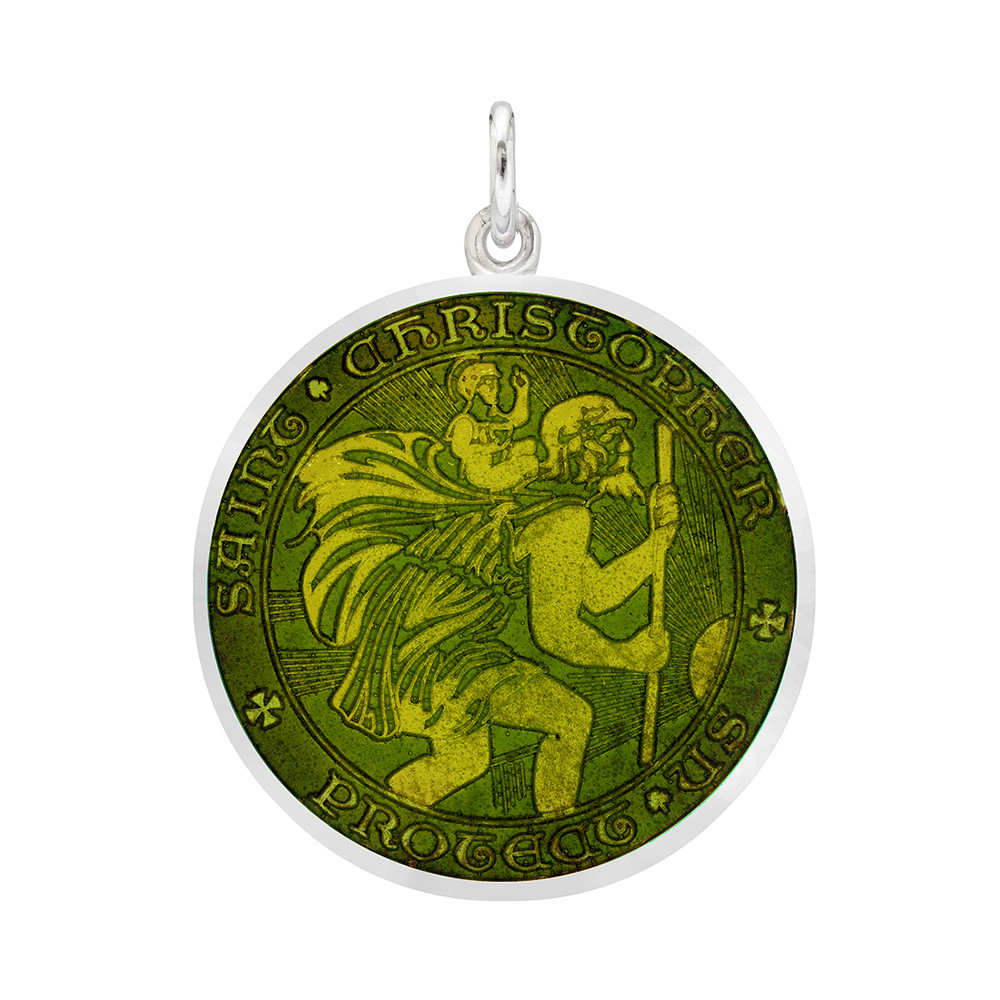 Medium St. Christopher Medal with Moss Green Enamel