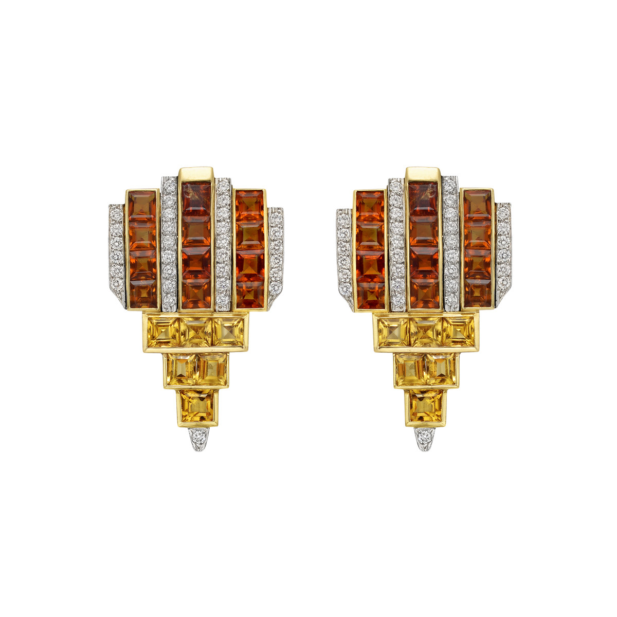 Multicolored Citrine & Diamond Geometric Earclips
