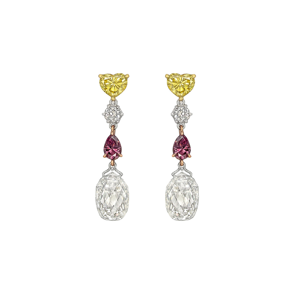 Multicolored Diamond Chain Earrings