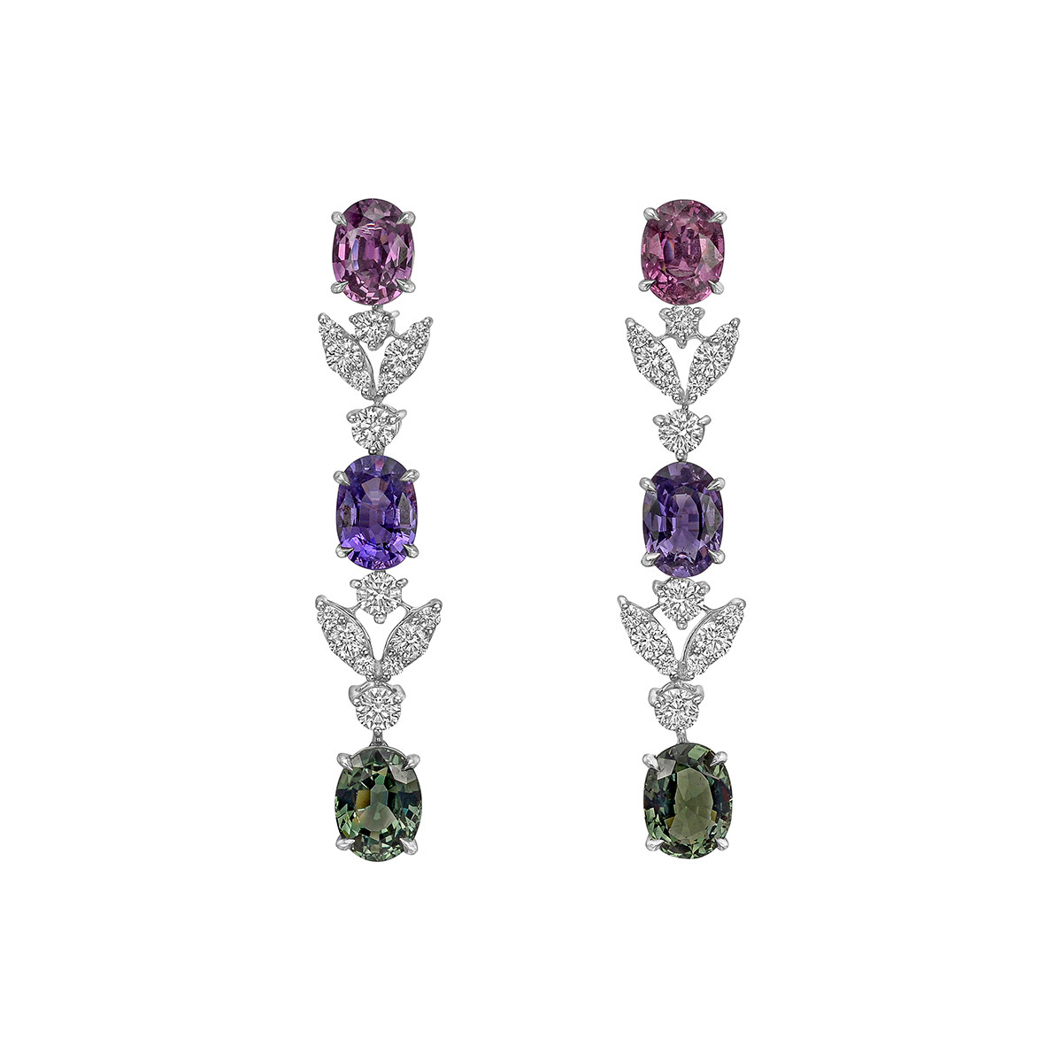 Multicolored Sapphire & Diamond Drop Earrings