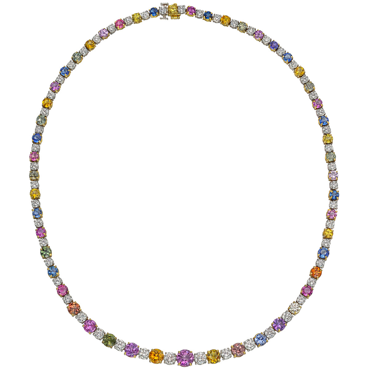Multicolored Sapphire & Diamond Necklace