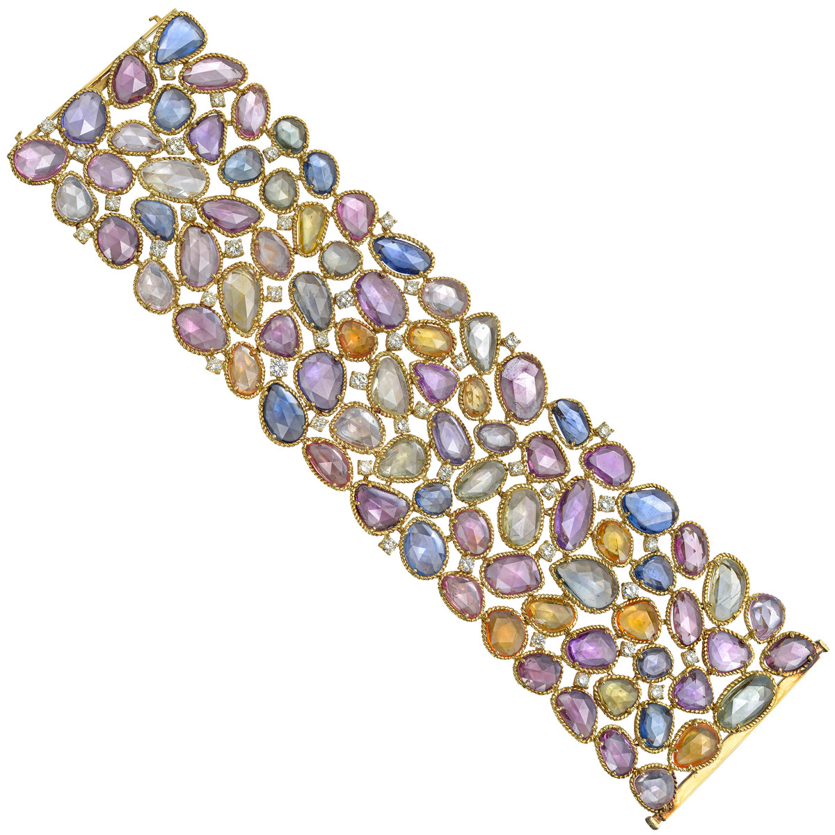 Multicolored Sapphire & Diamond Wide Bracelet