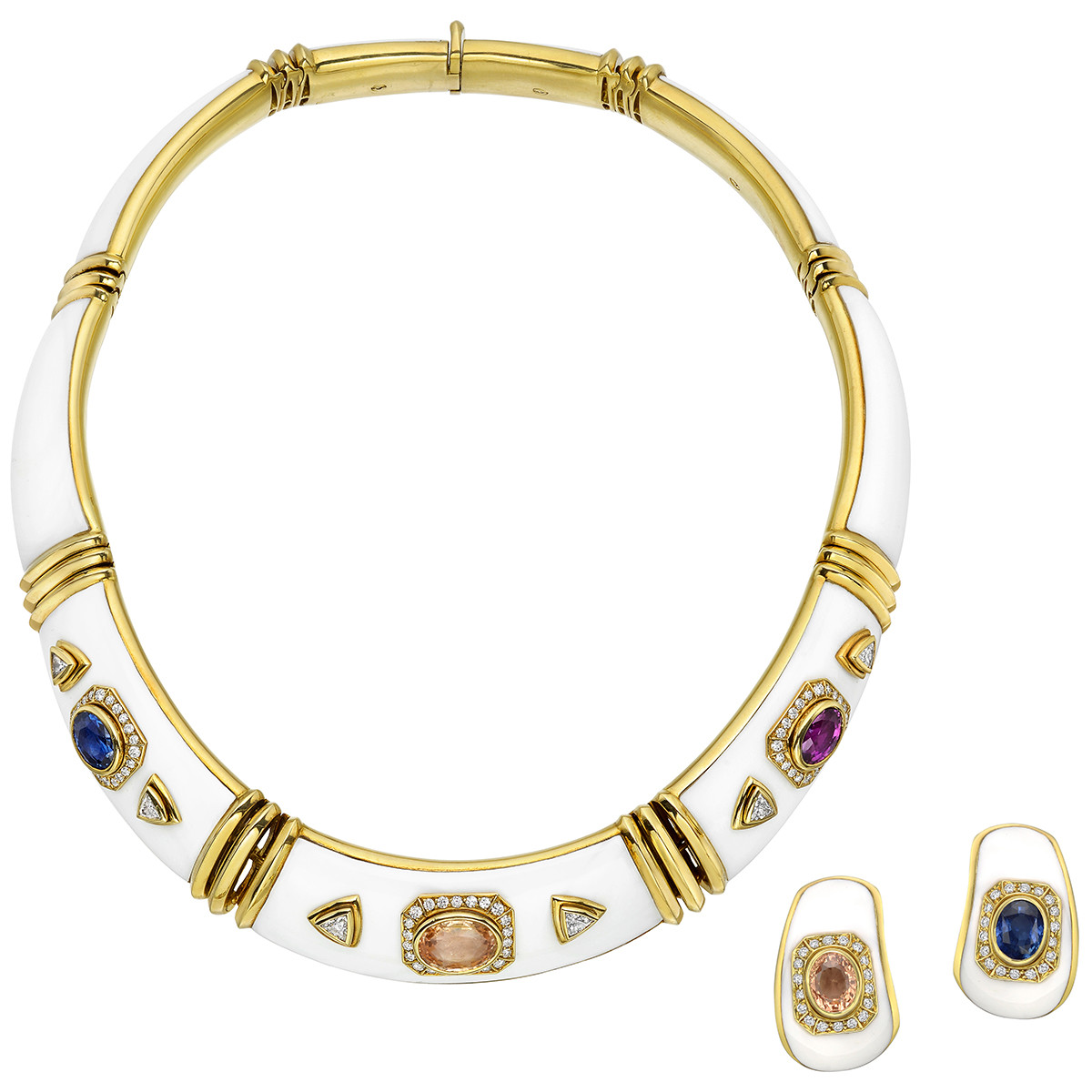 Multicolored Sapphire, Diamond & White Enamel Necklace & Earclips