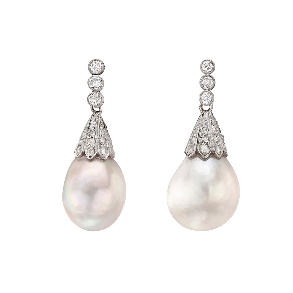 Natural Saltwater Pearl Necklace: Estate Natural Saltwater Pearl Drop Earrings