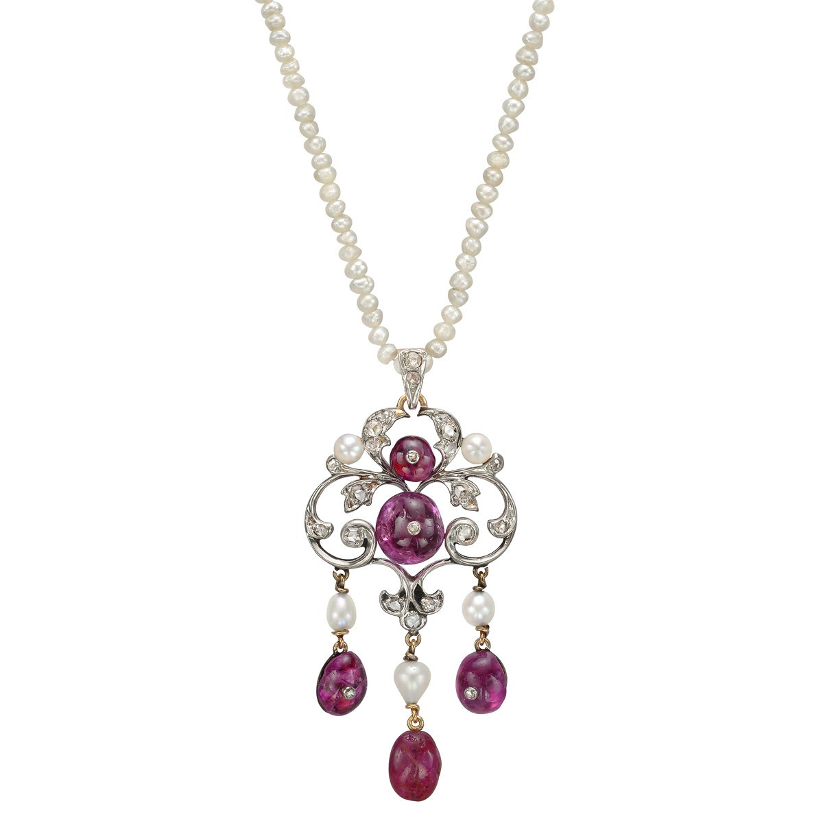Antique Natural Pearl & Ruby Pendant Necklace