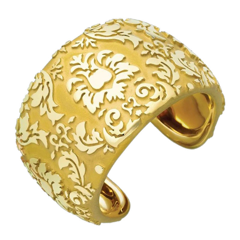 18k Yellow Gold Damask Cuff Bracelet