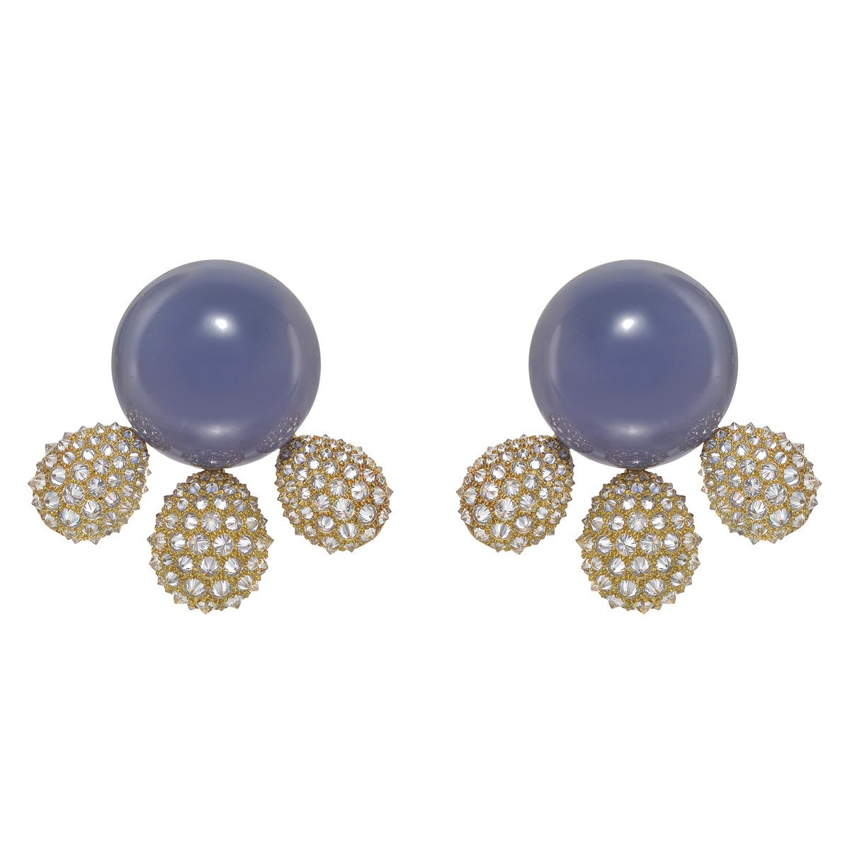 "Chalcedony & Diamond ""Golden Hour"" Earrings"