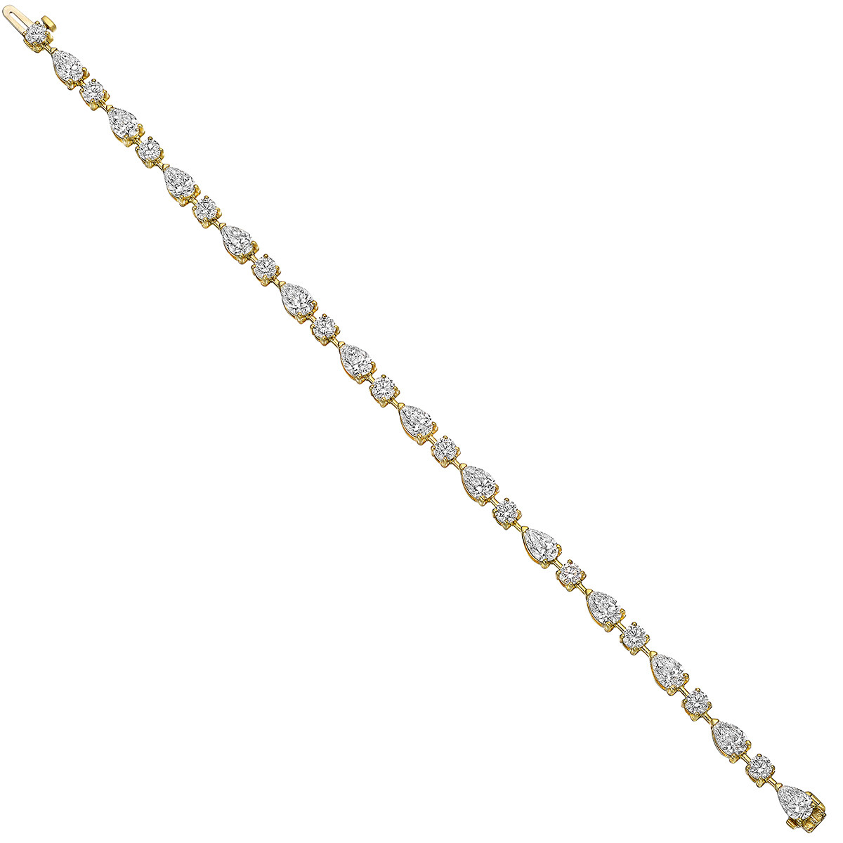 Pear & Round Brilliant Diamond Line Bracelet