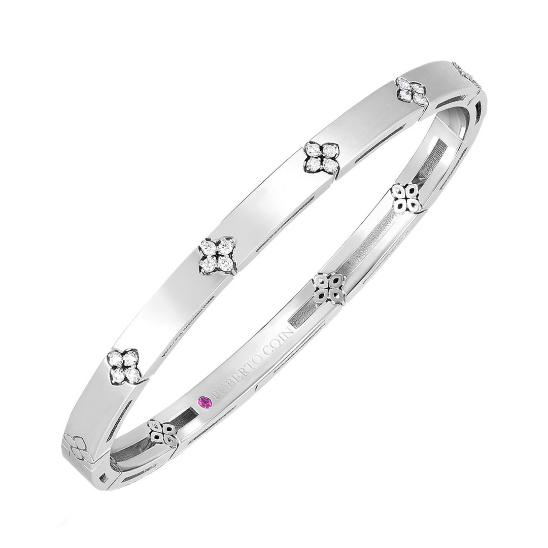 "18k White Gold & Diamond ""Love in Verona"" Bangle Bracelet"