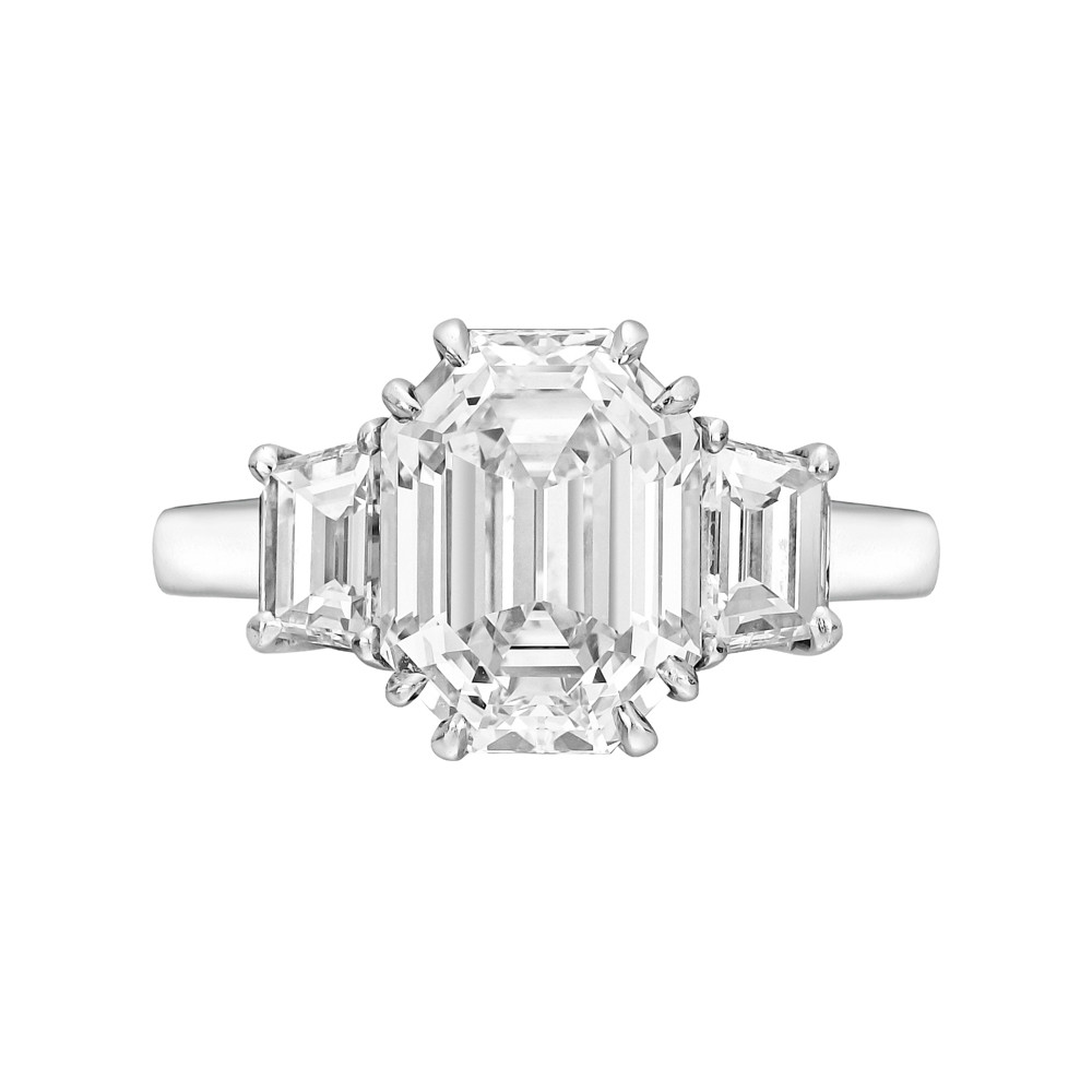 5.33 Carat Cut-Cornered Rectangular Step-Cut Diamond Ring