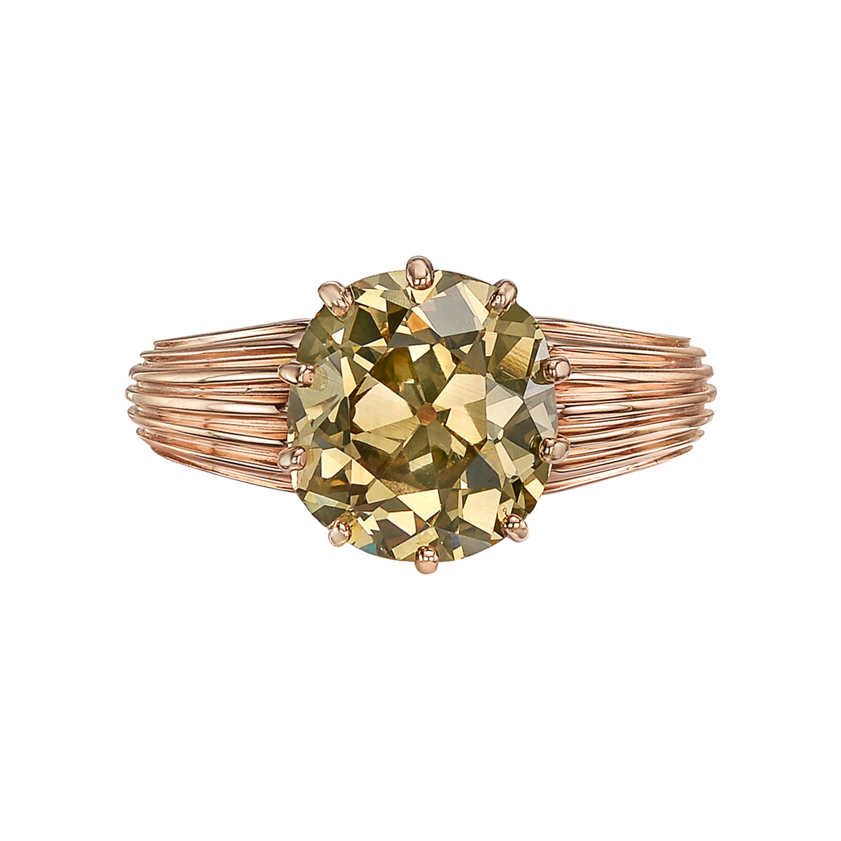 2.71ct Old Mine Brown Diamond Solitaire Ring