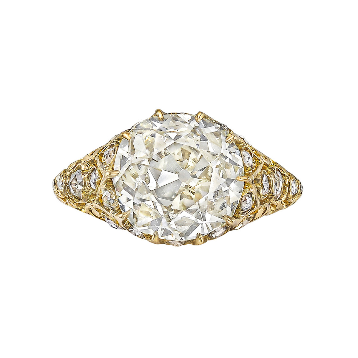 3.29ct Old Mine-Cut Diamond Antique Ring