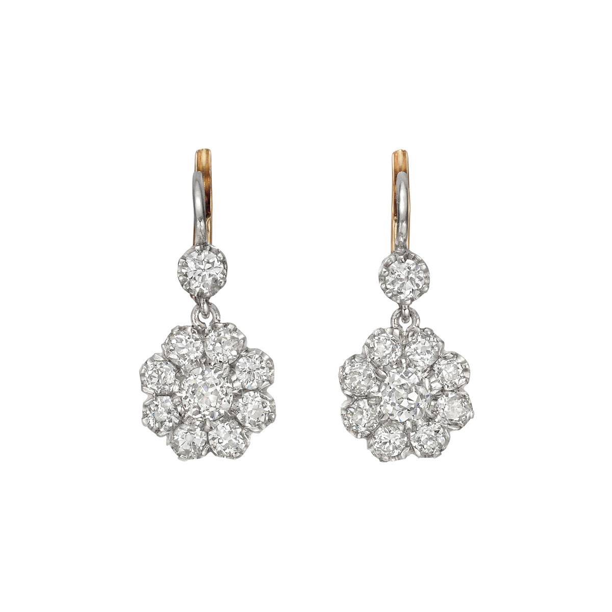 Platinum & Old Mine Diamond Cluster Drop Earrings