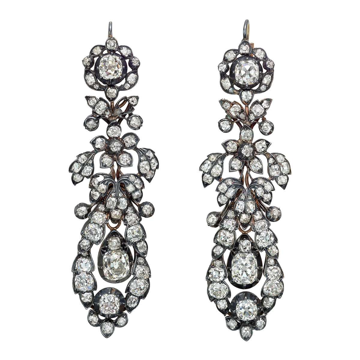 Old Mine Cut Diamond Foliate Drop Earrings