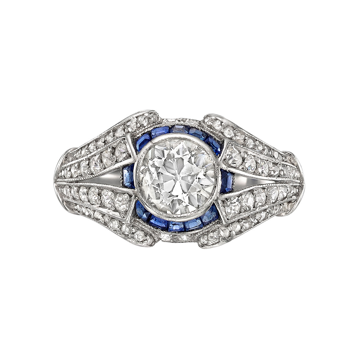 1.00 Carat Old Mine Diamond & Sapphire Ring