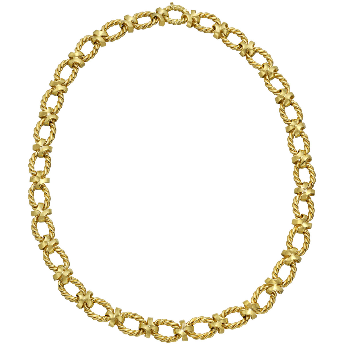 18k Yellow Gold Oval & 'X' Link Necklace