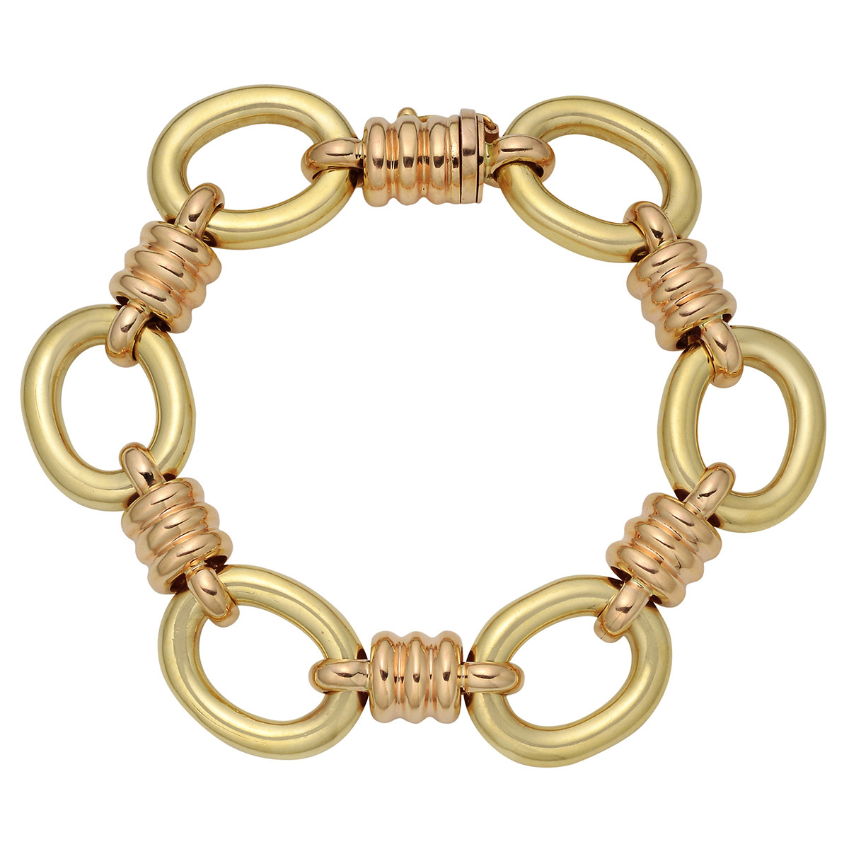 18k Yellow & Pink Gold Oval & Coil Link Bracelet