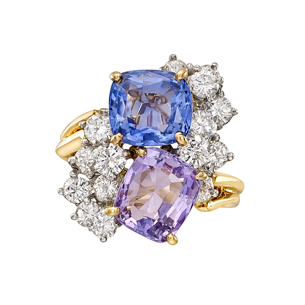 Multicolored Sapphire & Diamond Twin Ring
