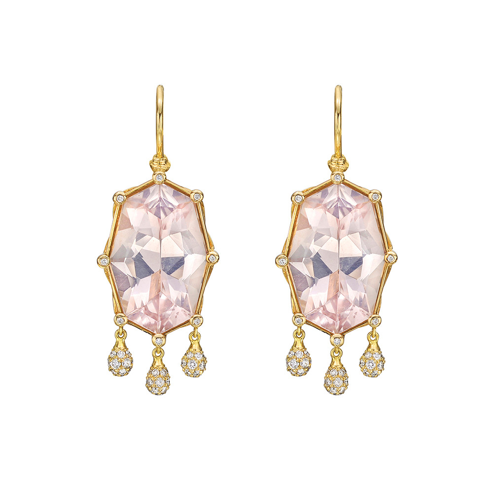 "Pink Rock Crystal & Diamond ""Shashee"" Earrings"
