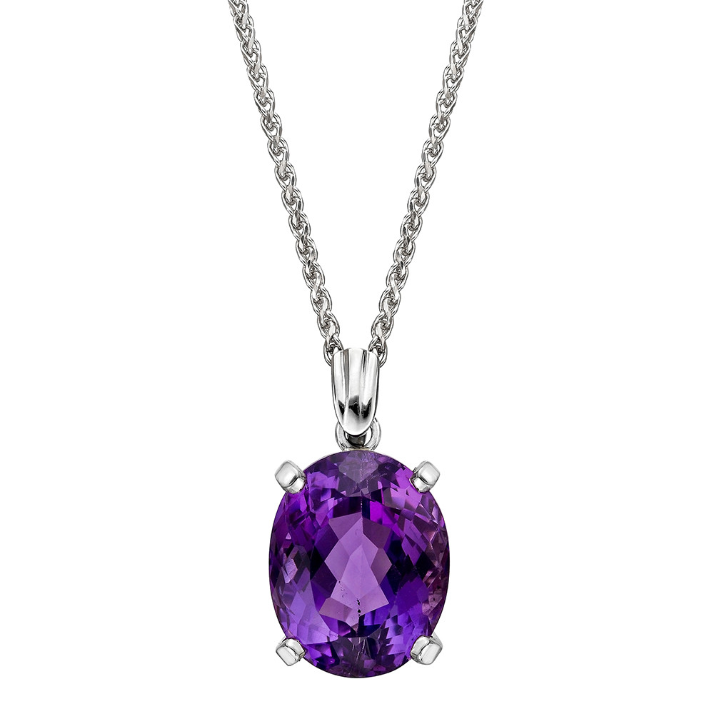 Oval shaped amethyst pendant necklace betteridge oval shaped amethyst pendant the amethyst measuring approximately 20 x 16mm prong set in a 14k white gold mounting and suspended from a 20 long 14k white mozeypictures Gallery
