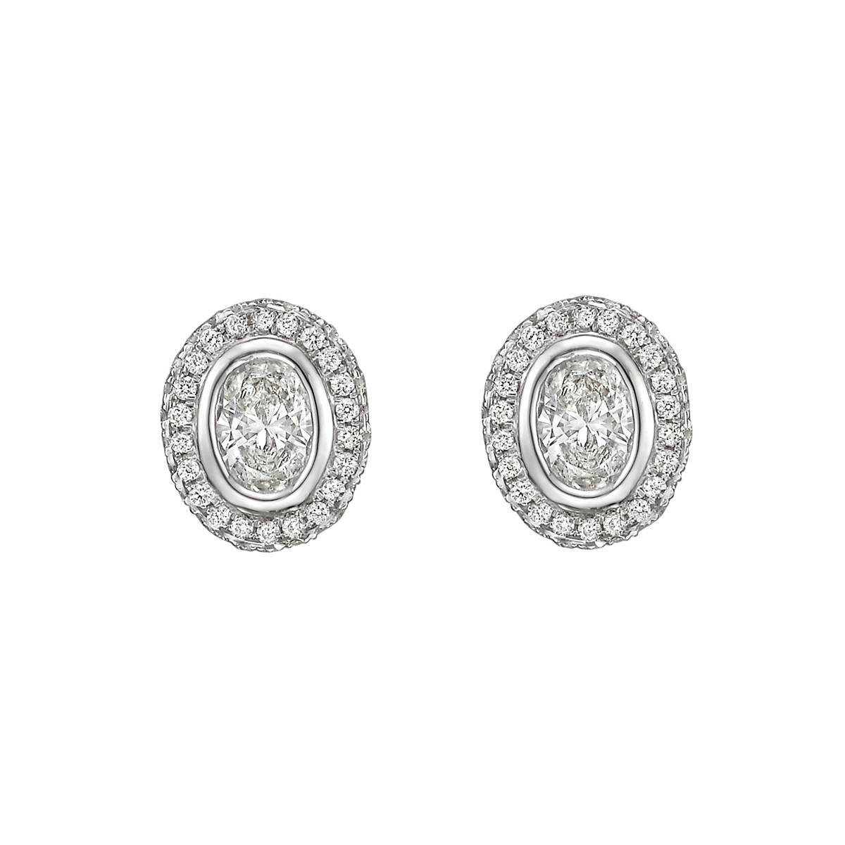 Oval Brilliant-Cut Diamond Halo Stud Earrings