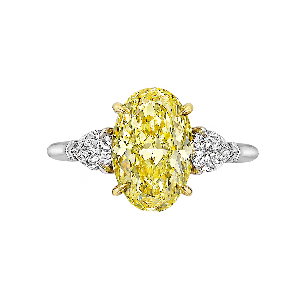 3.32ct Fancy Intense Yellow Oval Diamond Ring (VVS2)