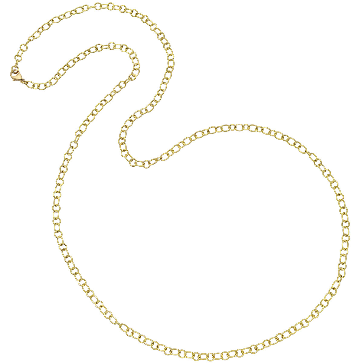 18k Yellow Gold Oval & Round Link Long Necklace