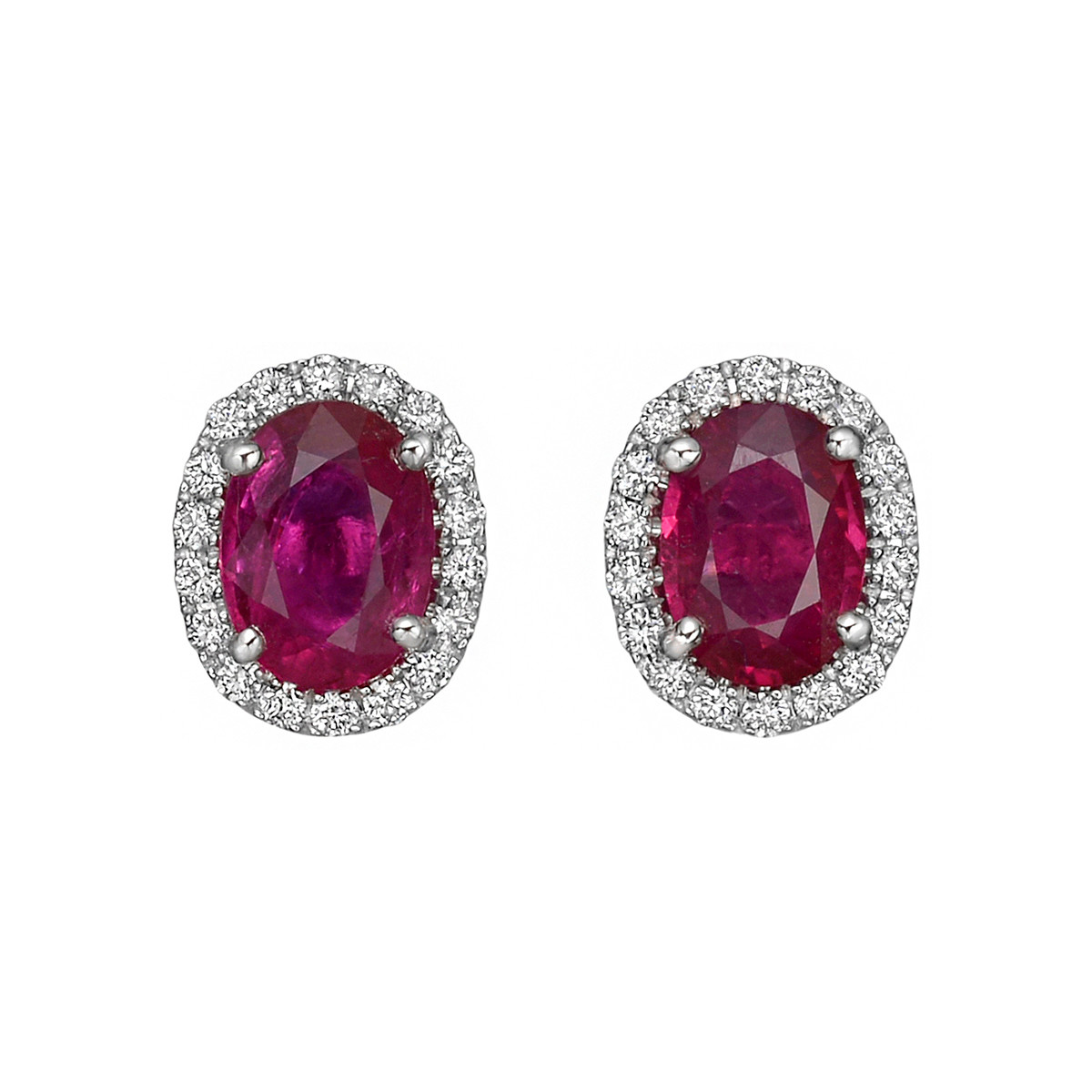 Oval Ruby & Diamond Halo Earstuds